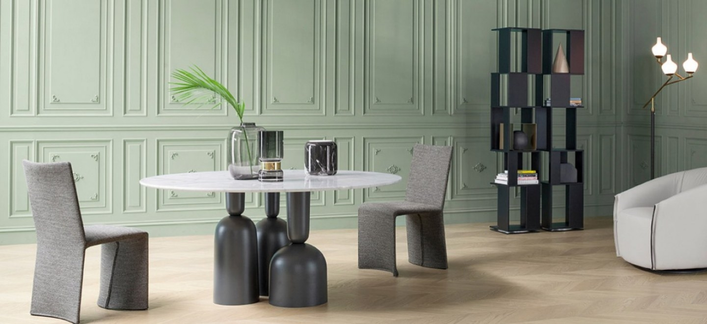 Bonaldp Hulahoop runder Tisch,Calacatta Marmor Tischplatte,Design Italy