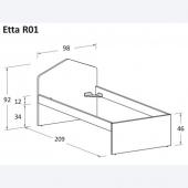 Etta R01 98 x 209 x h 92 cm (dimensioni materasso 90 x 200 cm)