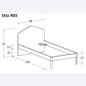 Etta R03 98 x 229 x h 92 cm (dimensioni materasso 90 x 220 cm)