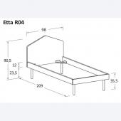 Etta R04 98 x 209 x h 90.5 cm (dimensioni materasso 90 x 200 cm)