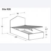 Etta R28 98 x 209 x h 92 cm (dimensioni materasso 90 x 200 cm)
