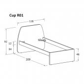 R01 118 x 209 x h 92 cm (mattress size 90 x 200 cm)