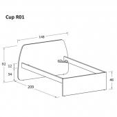 R01 148 x 209 x h 92 cm (mattress size 120 x 200 cm)
