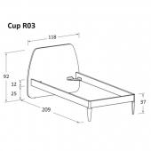 R03 118 x 209 x h 92 cm (mattress size 90 x 200 cm)