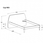 R03 148 x 209 x h 92 cm (mattress size 120 x 200 cm)