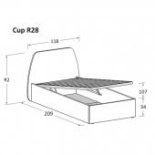 R28 118 x 209 x h 92 cm (mattress size 90 x 200 cm)