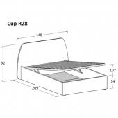 R28 148 x 209 x h 92 cm (mattress size 120 x 200 cm)