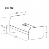 R02 98 x 209 x h 92 cm (mattress size 90 x 200 cm)