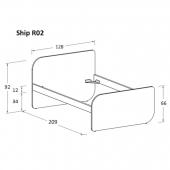 R02 128 x 209 x h 92 cm (mattress size 120 x 200 cm)