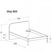 R03 128 x 209 x h 92 cm (mattress size 120 x 200 cm)