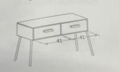 88 x 45.8 x h 49 cm (2 drawers 41cm/ 41 cm)