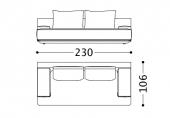 230 x 106 x h 82 cm  Sofa