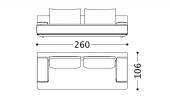 260 x 106 x h 82 cm Sofa