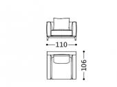 110 x 106 x h 87 cm Armchair