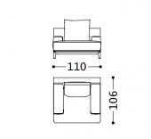 110 x 106 x h 87 cm